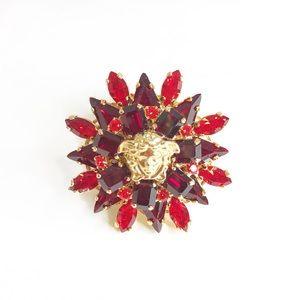 Versace Medusa Red Rhinestone Flower Ring